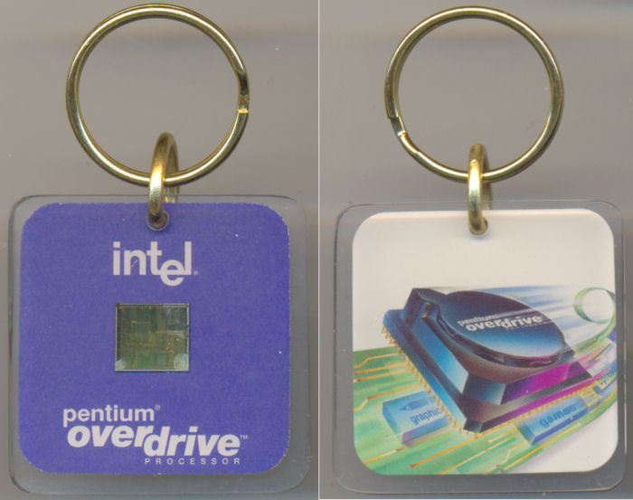 Intel keychain Pentium Overdrive with die