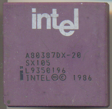 Intel A80387DX-20 SX105 INTEL logo