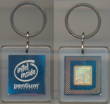 Keychain Intel Pentium with chip dark blue rectangular