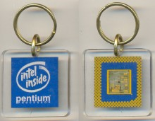 Keychain Intel Pentium with chip light blue square