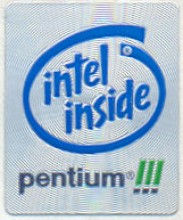 Intel case sticker 'PIII'